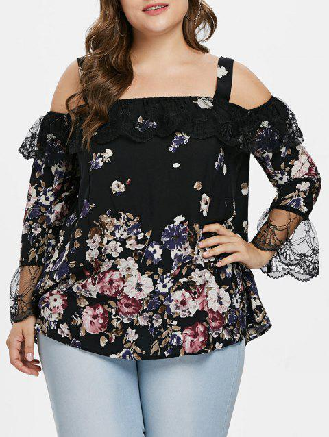Square Neck Plus Size Lace Panel Blouse - BLACK 3X