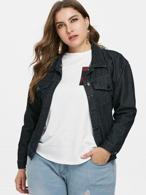 Embroidered Plus Size Jean Jacket - BLACK 3X