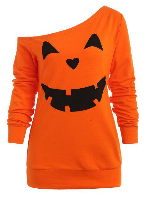 Halloween Pumpkins Skew Neck Sweatshirt - DARK ORANGE L