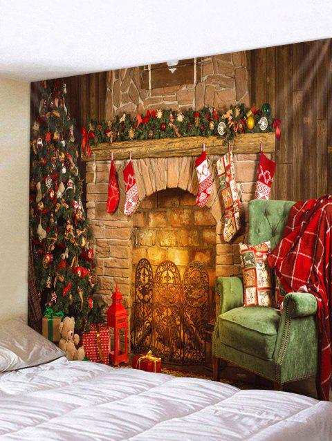 Christmas Fireplace Tree Print Tapestry Wall Art Decor - multicolor W91 X L71 INCH