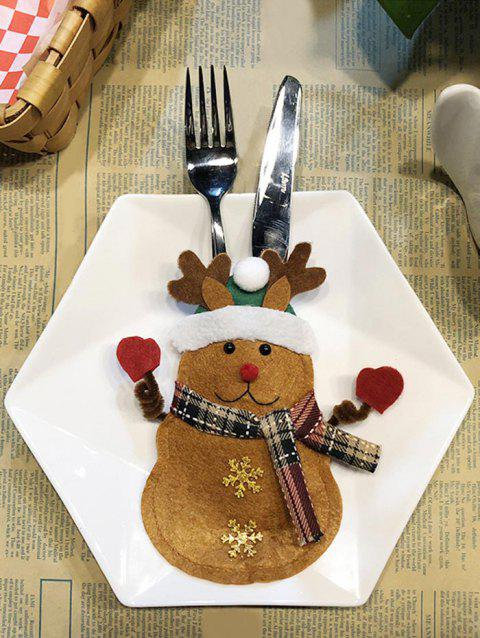 Christmas Deer Tableware Knife and Fork Bag - SANDY BROWN