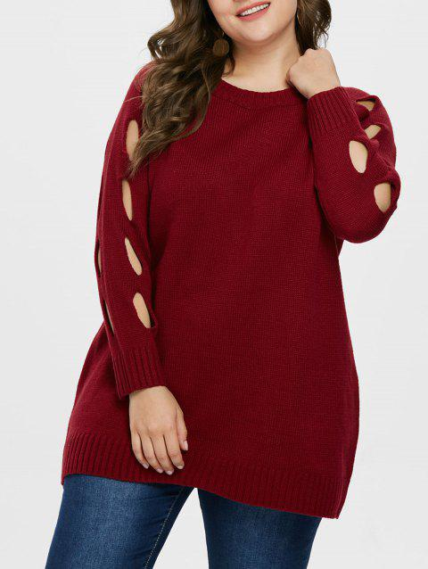 Plus Size Sleeve Cut Out Sweater - RED 2X