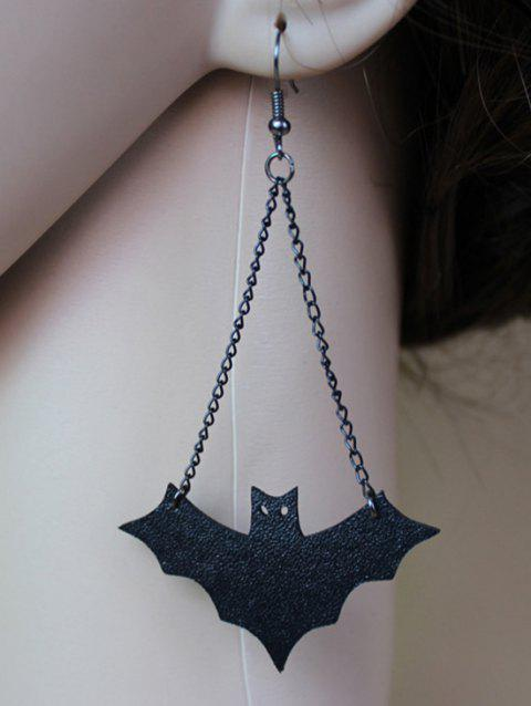 Halloween Bat Drop Earrings - BLACK