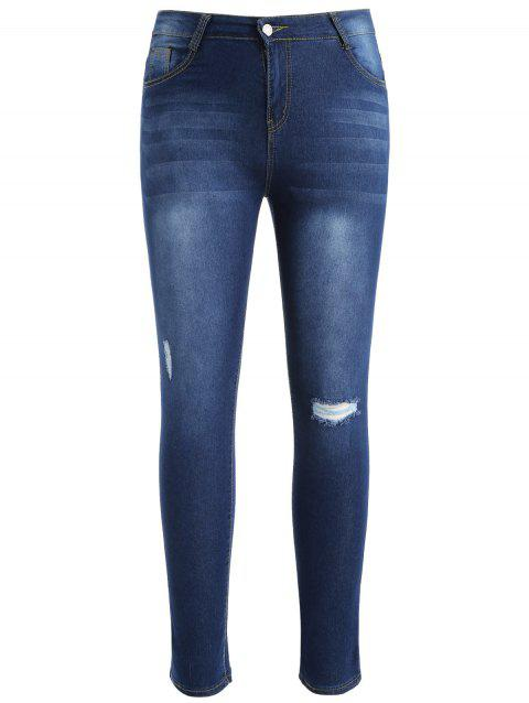 Plus Size Slim Fit Ninth Ripped Jeans - DENIM BLUE 5X