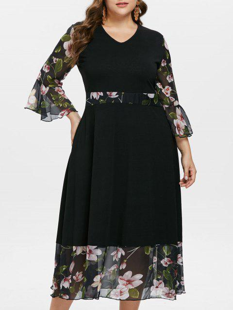 Plus Size Floral Hem V Neck Maxi Dress - BLACK 3X