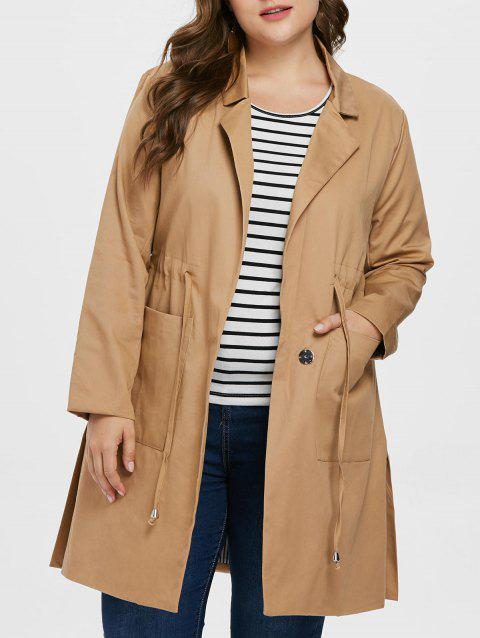 Plus Size Drawstring Lapel Coat - DARK KHAKI 1X
