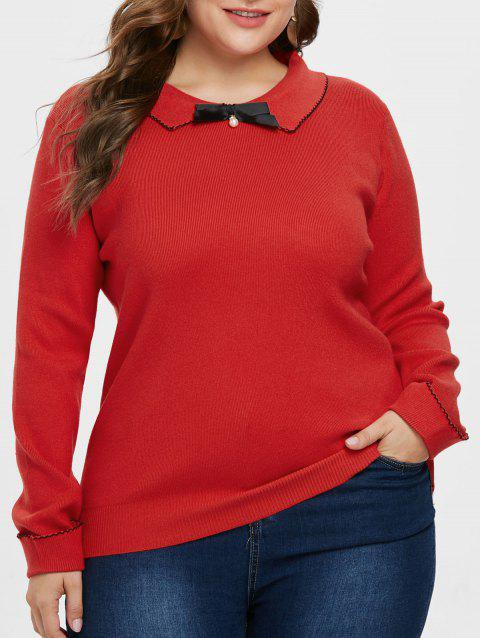 Plus Size Contrast Trim Sweater - RED 2X
