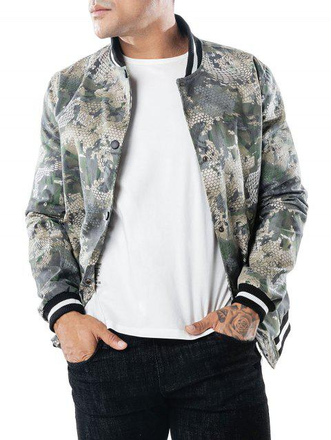 Snakeskin Printed Single Breasted Jacket - multicolor M