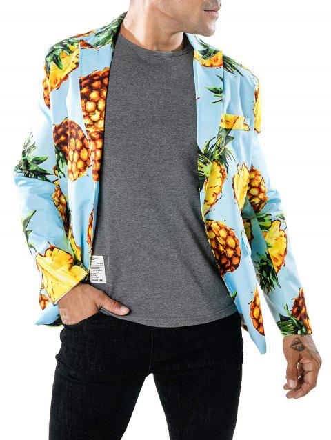 Pineapple Print Slim Fit Blazer - LIGHT BLUE M