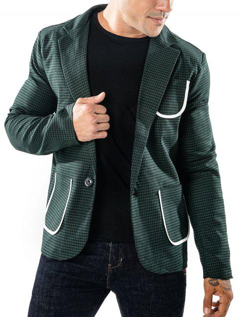 Slim Fit Bordure Pocket Houndstooth Blazer - GREEN 2XL
