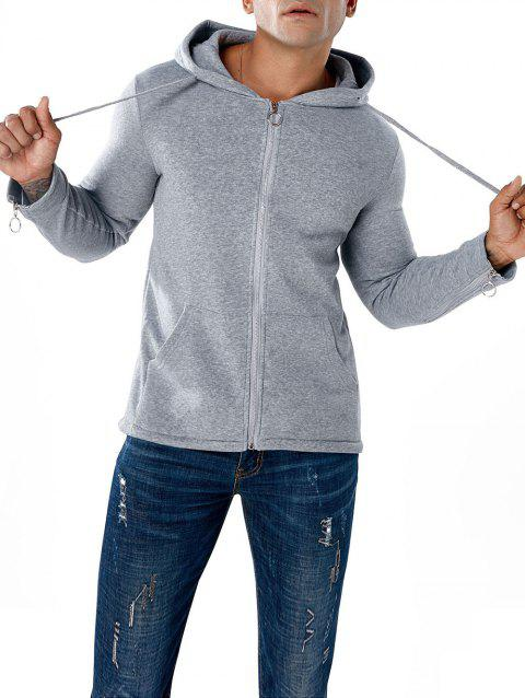 Split Design Circle Zipper Sleeve Hoodie - GRAY XL
