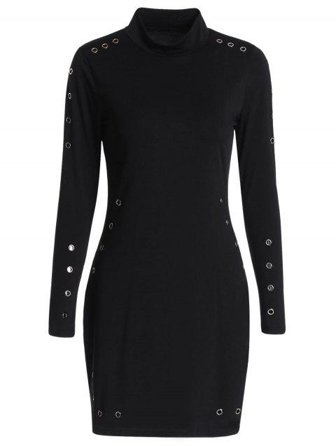 Grommets Mini Bodycon Dress - BLACK M