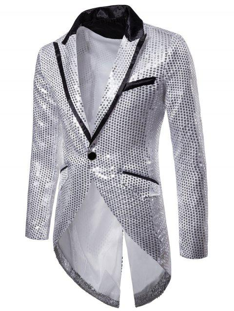 Single Button Allover Paillette Embellished Swallow-tailed Blazer - SILVER L