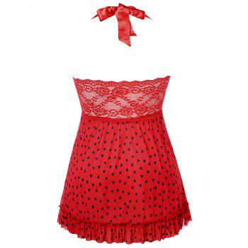 Front Slit Plus Size Heart Pattern Babydoll - RED 1X