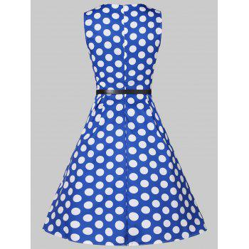 Lace Insert Dotted High Waist Pleated Dress - BLUEBERRY BLUE M