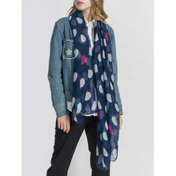 Lightweight Hedgehog Printed Long Scarf - LAPIS BLUE