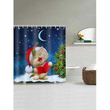 Christmas Tree Cat Print Waterproof Shower Curtain - multicolor W71 X L71 INCH