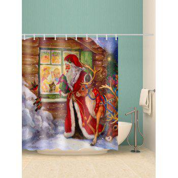 Christmas Elk Santa Claus Print Waterproof Shower Curtain - RED W59 X L71 INCH