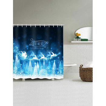 Christmas Tree Elk Pattern Waterproof Shower Curtain - GLACIAL BLUE ICE W71 X L79 INCH