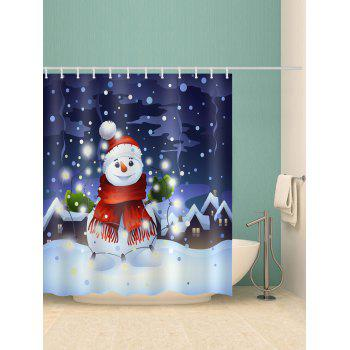 Snowman Pattern Waterproof Bathroom Curtain - multicolor W71 X L79 INCH