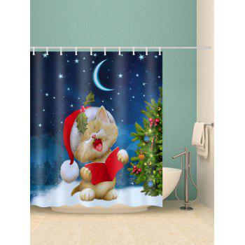 Christmas Tree Cat Print Waterproof Shower Curtain - multicolor W59 X L71 INCH