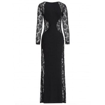 Sheer Lace Panel Maxi Party Dress - BLACK ONE SIZE