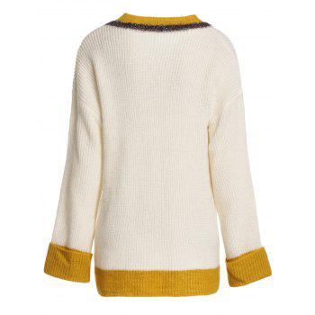 V Neck Chunky Cricket Sweater - BEIGE ONE SIZE