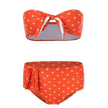 Knotted Polka Dot Bikini Set - BEAN RED M