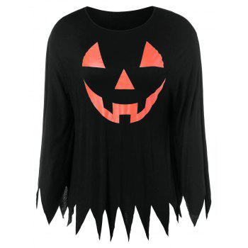 Plus Size Graphic Halloween Poncho T-shirt - BLACK 1X