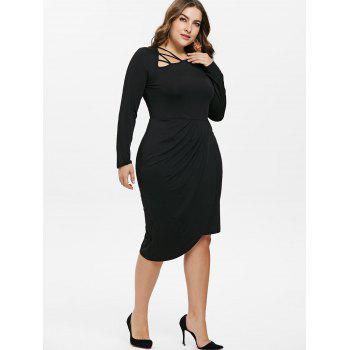 Plus Size Cutout Pleated Detail Overlap Dress - BLACK 4X