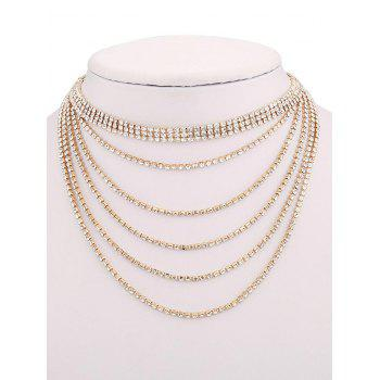 Strass collier multicouche - Or