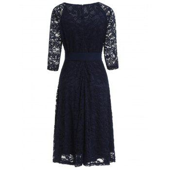 Retro Lace Belted Pin Up Dress - CADETBLUE L