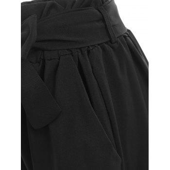 Ruffled Trim Ninth Pants - BLACK M