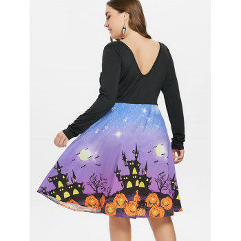 Plus Size Long Sleeve Halloween Dress - BLACK 1X