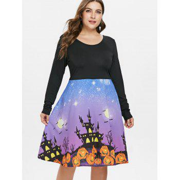 Plus Size Long Sleeve Halloween Dress - BLACK 2X