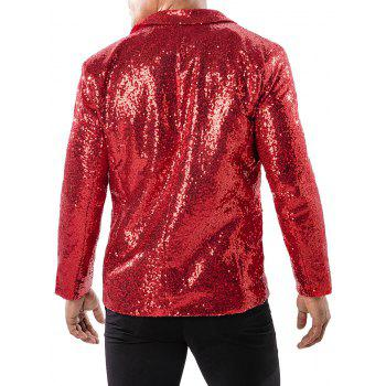 One Button Pockets Shiny Sequin Blazer - RED WINE M