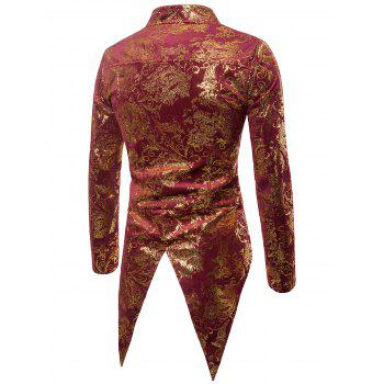Gold Stamping Performance Swallow-tailed Blazer - RED WINE 2XL