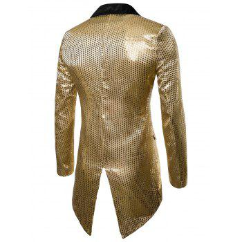 Single Button Allover Paillette Embellished Swallow-tailed Blazer - GOLD M