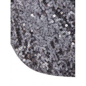 One Button Pockets Shiny Sequin Blazer - SILVER M