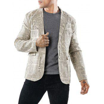 One Button Newspaper Print Blazer - multicolor M