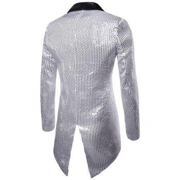 Single Button Allover Paillette Embellished Swallow-tailed Blazer - SILVER 2XL