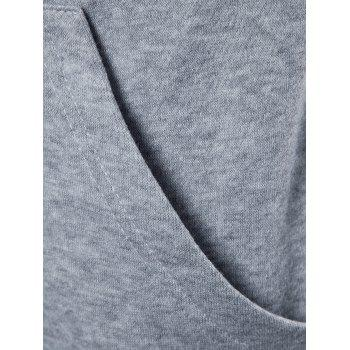 Split Design Circle Zipper Sleeve Hoodie - GRAY L