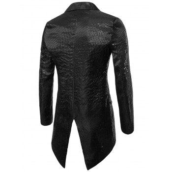 Single Button Allover Paillette Embellished Swallow-tailed Blazer - BLACK XL