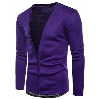 Deep V Neckline Mesh Lining Solid Cardigan Sweater - PURPLE 2XL