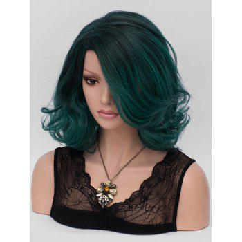 Short Inclined Fringe Colormix Wavy Synthetic Party Wig - multicolor
