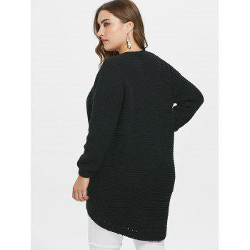 Criss Cross Plus Size High Low Sweater - BLACK L