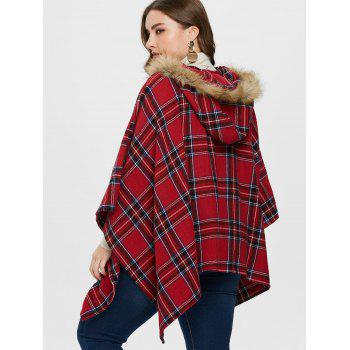 Hooded Plus Size Tartan Cape Coat - RED 5X