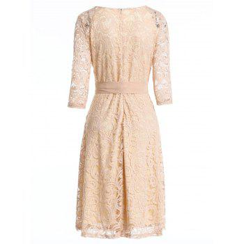 Retro Lace Belted Pin Up Dress - BLANCHED ALMOND L