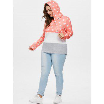 Plus Size Drawstring Star Pattern Hoodie - ORANGE 1X