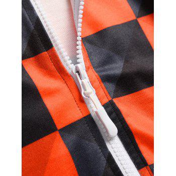 Zip Up Hooded Check Print Jumpsuit - multicolor 2XL